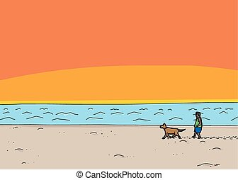 Walking Dog at Beach Sunset