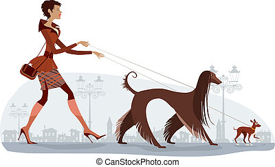 Vector illustration of a girl walking two dogs