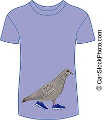 Walking dove in blue sneakers t-shi