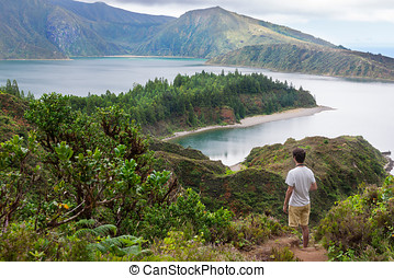 Walking down to Lagoa do Fogo in Sao Miguel, Azores Islands