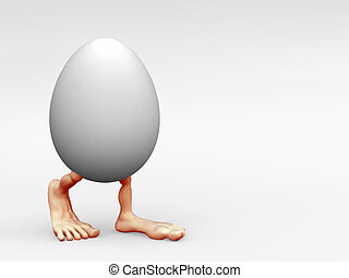 Walking Egg - Egg with two legs walking on a light...