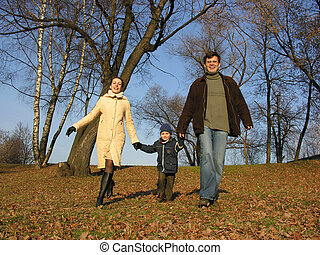 walking family. wood.
