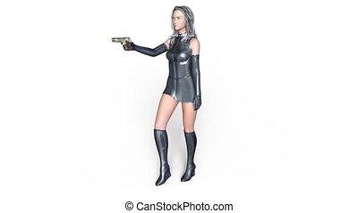 Walking female warrior - 3D CG rendering of a walking female...