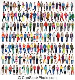 Walking Flat 01 People 2D - Urban Multiethnic People Large...