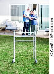 Walking Frame On Lawn At Nursing Home