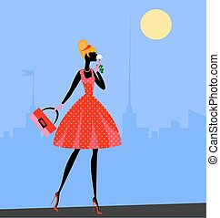 walking girl in red