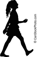 walking girl silhouette vector