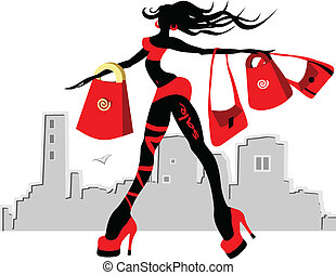 Walking glamour girl with the purchases