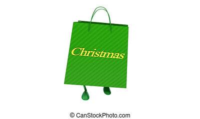 Walking green christmas bag Loop