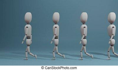 Walking group of people as a symbol of teamwork and workforce. 3D Rendering