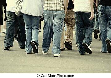 Walking - Group of teenagers walking in the street - 70s ...