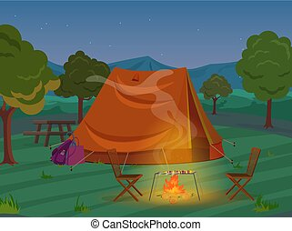 Walking, Hiking or Sports outdoor camping recreation landscape, nature adventures vacation illustration. Tent in night wood.