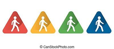 walking icon on a triangular internet button