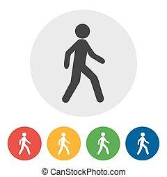 walking icon on round internet button