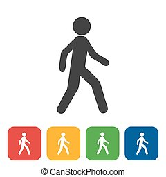 walking icon on square internet button Six color options included