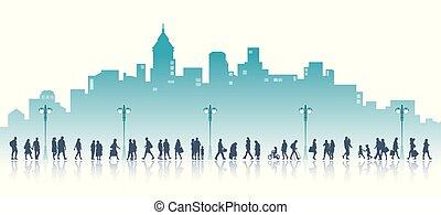 Walking in a city.