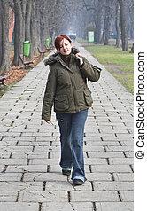 Walking in an autumn park