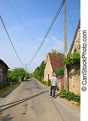 Walking in French village