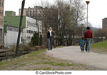 Walking in Park