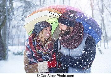 Walking in snowy day