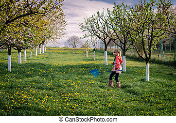 walking in spring garden