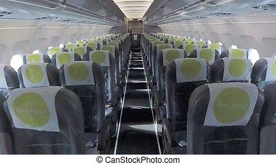 Walking in the passenger airlplane interior. Nobody