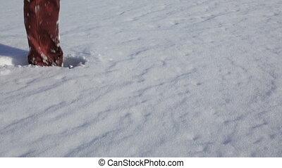 People walked through deep snow