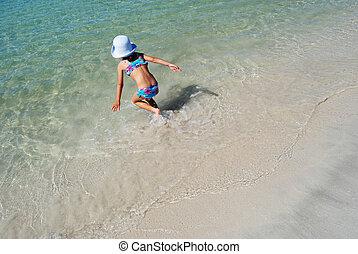 walking into the sea