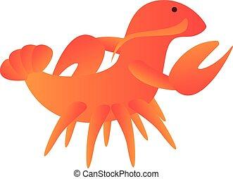 Walking lobster icon, cartoon style - Walking lobster icon. ...