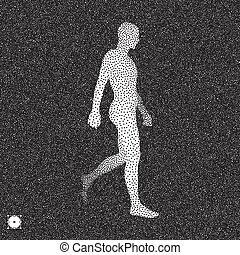 Walking Man. 3D Human Body Model. Black and white grainy...