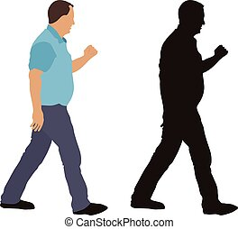 Walking man and silhouette, vector illustration, isolated on white background.