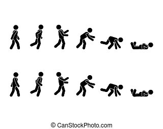 Walking man stick figure pictogram set