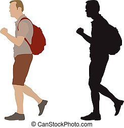 Walking man with backpack and silhouette, vector illustration, isolated on white background.