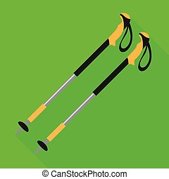 Walking nordic sticks icon, flat style