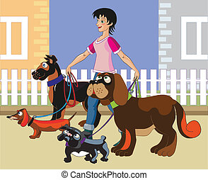 The young cheerful girl walks four dogs of various breeds along buildings