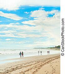 Walking on a tropical beach