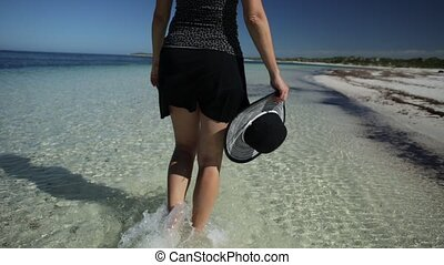 walking on Australia Beach - low angle view of a woman...