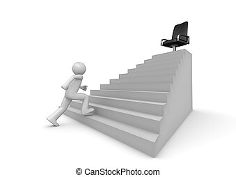 Walking on career ladder - 3d isolated characters on white...