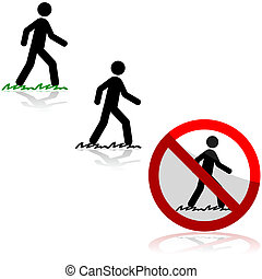 Walking on grass - Icon set showing a man walking on grass...