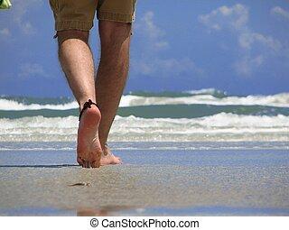 Walking on the Beach - Closeup of a man's leg walking on New...