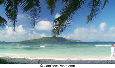 walking on tropical beach