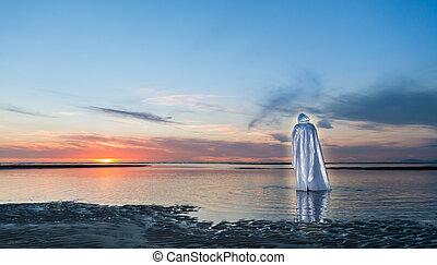 Walking on Water - Jesus Christ Walking on water towards a...