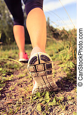 Walking or running shoes in forest, adventure and exercising
