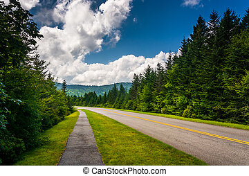 Walking path along the Blue Ridge Parkway in North Carolina.