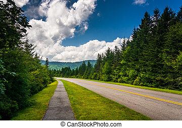 Walking path along the Blue Ridge Parkway in North Carolina.