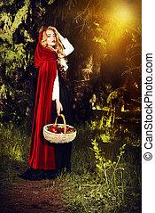 walking path - Beautiful blonde woman in old-fashioned dress...
