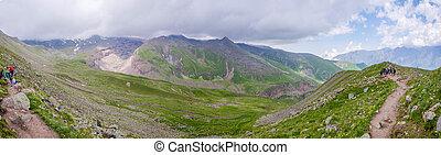 Walking path in Kazbegi mountain panorama