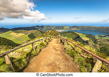 Walking path leading to a view on the lakes of Sete Cidades and Santiago in Sao Miguel, Azores