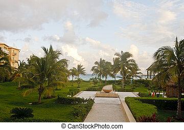Walking Path Through Coastal Resort
