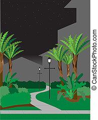 Walking pathway at night